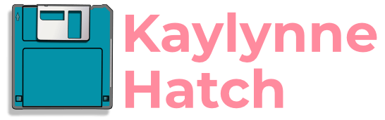 Turquoise Floppy Disk Next to Bold Pink Letters: Kaylynne Hatch