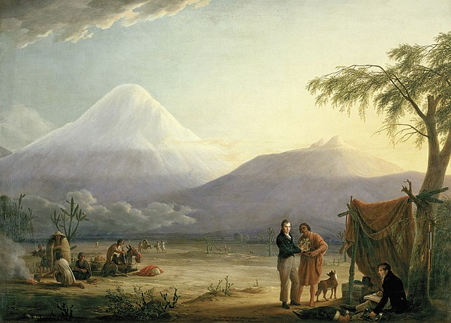 Humboldt and his fellow scientist Aimé Bonpland near the foot of the Chimborazo volcano, painting by Friedrich Georg Weitsch (1810) via Wikipedia